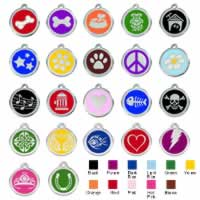 Stainless Steel with Enamel Small Dog ID Tags (Design 1)