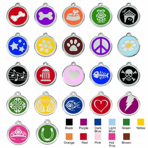 Stainless Steel with Enamel Medium Dog ID Tags (Design 1) 1