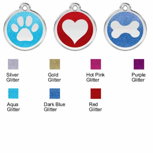 Red Dingo Stainless Steel with Glitter Dog Tags with colour options