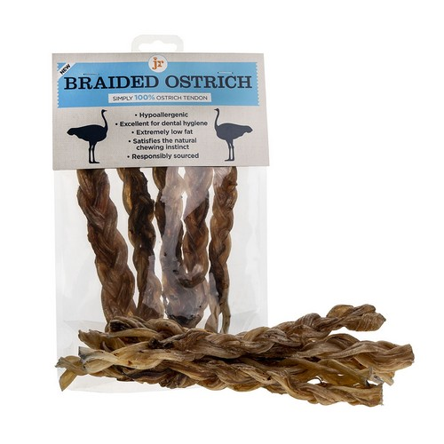 JR Pet Products Braided Ostrich Tendon Twists 1